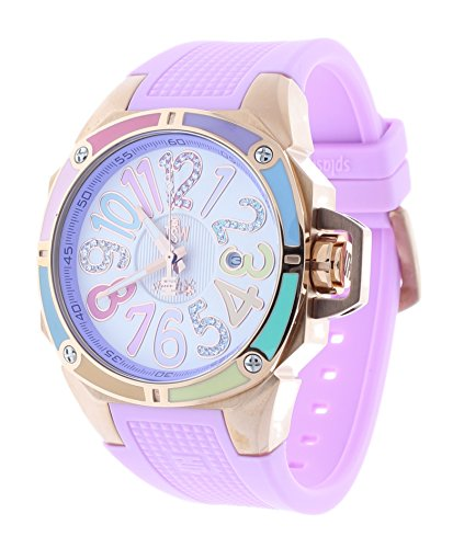 Technosport TS-200-SPLASH7 Women's Light Pink Watch Swarovski Multicolor Colorful Dial Markers Rose-Tone Case