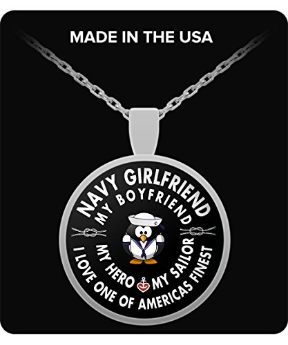 Navy Seal Girlfriend - Round Pendant Necklace - My Hero - My Sailor - - Army Wife (Titanium Navy Seal)