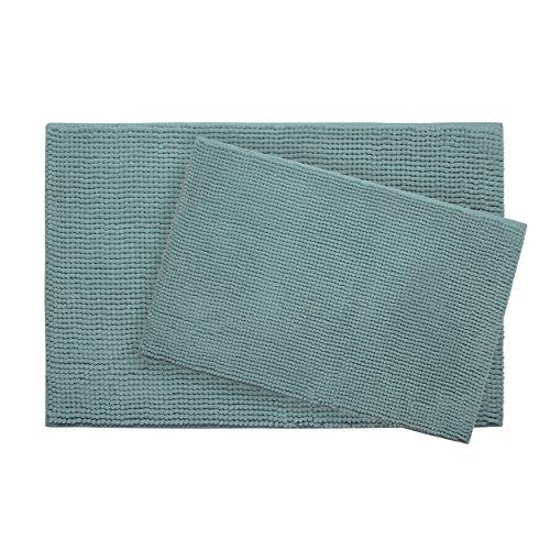 2 Piece Marine - Plush Memory Foam Chenille with BounceComfort Technology 17x24 and 20x30 2-Piece Bath Mat Set, Marine Blue
