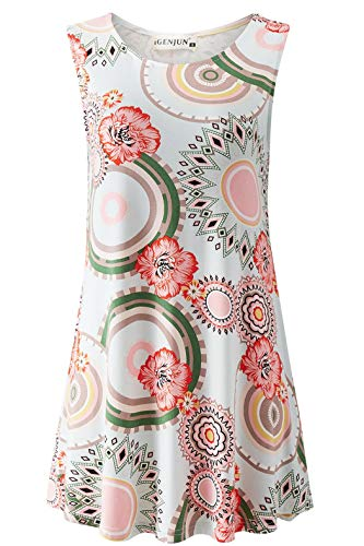 (iGENJUN Women's Summer Sleeveless Swing Tunic Casual Floral Flare Tank Tops,DG3,XL)
