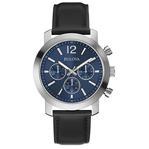 Bulova 96A160 Mens Sport Chronograph Black Leather Strap Watch by Bulova