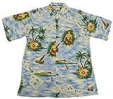 Go Barefoot Mens Aloha Maid Vintage Fujiette Rayon Shirt Powder Blue 2X