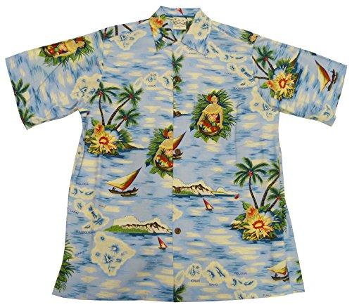Go Barefoot Mens Aloha Maid Vintage Fujiette Rayon Shirt Powder Blue 2X by Go Barefoot