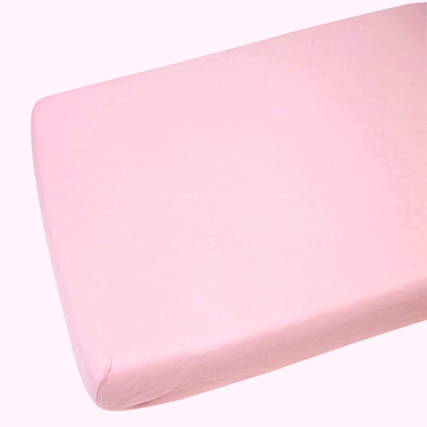2 x Cot Fitted Sheets 100% Cotton Very Soft (60 x 120 cm) (Pink) Sasma Ltd