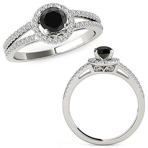 1.07 Carat Black Diamond Love Designer Beautiful Halo Anniversary Promise Women Band Ring 14K White Gold ()