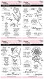 Stamp Simply Clear Stamps Flower Power Bundle - Tulip, Rose, Coneflower, Sunflower Christian Religious (4-Pack) 4x6 Inch Sheets - 32 Pieces