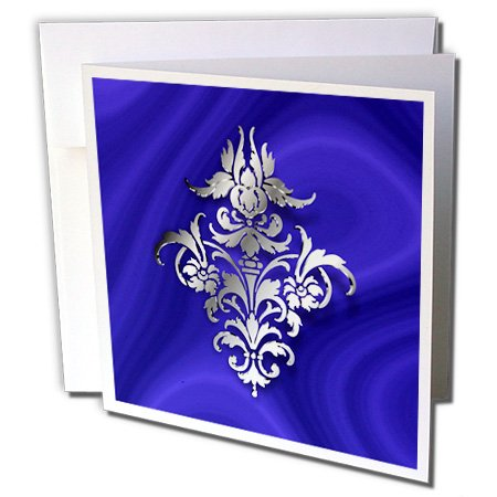 Damask Holiday Photo - 3dRose Russ Billington Designs - Photo of Damask Wallpaper Motif in Silver Effect over blue velvet - 12 Greeting Cards with envelopes (gc_219279_2)