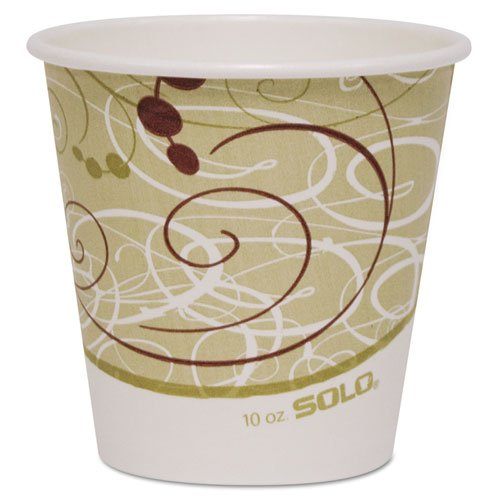 SOLO Cup Company Paper Hot Cup, 10 oz., Polylined, Symphony Design, Beige/White - 20 sleeves of 50 cups. 1000 per case.