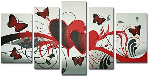 Amazon Com Wieco Art Red Flower Love Butterfly Abstract Oil Paintings On Canvas Wall Art Ready To Hang For Living Room Bedroom Home Decorations Modern 5 Panels Stretched And Framed 100 Hand Painted