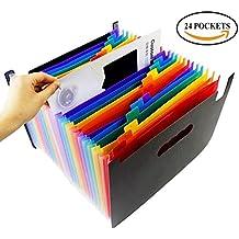 24 Pockets Multicolour High Capacity Expanding Files Folder Portable Accordion Document Folder Plastic A4 Business Organizer Bag