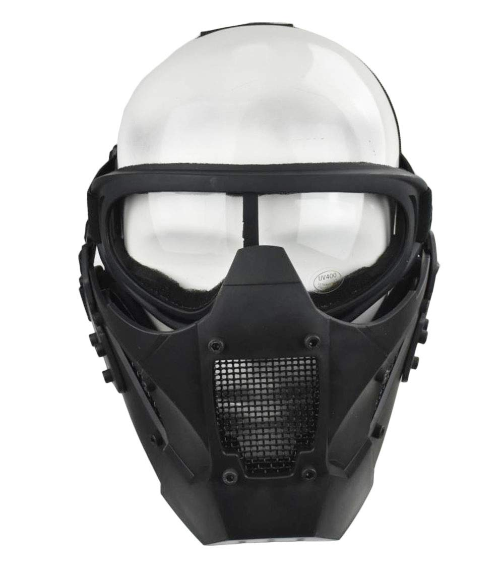 Jadedragon Tactical Airsoft Lower Face Mask Half Face Steel Mesh Protective Mask and Goggles Set (Black) by Jadedragon