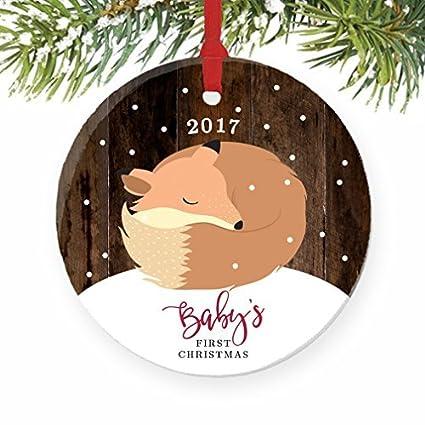 Christmas Tree Ornaments Fox Babys First Baby Fox 1st Christmas Woodland Animal Craft Ornament Gift Ideas