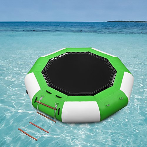 Popsport Inflatable water Trampoline Series Splash Padded Water Bouncer Inflatable Bouncer Jump Water Trampoline Bounce Swim Platform for Water Sports (10Ft, Green&White)
