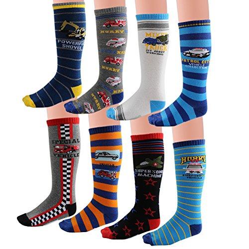 Deer Mum Boy's Assorted Car Designs Knee High Cotton Socks(8 Pairs) (6Y-10Y) (Colorful Socks Boys)