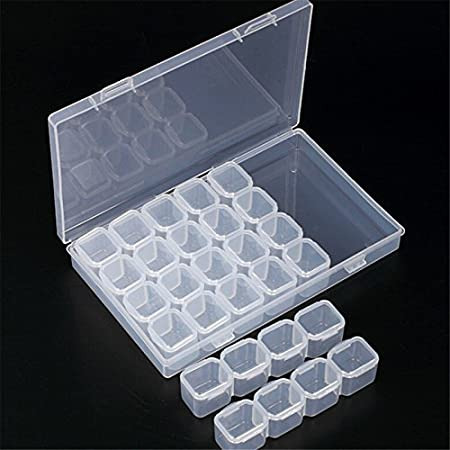 Wuudi - Caja de Almacenamiento de 28 Compartimentos, Mini Caja organizadora de plástico Transparente para Objetos pequeños, plástico, Transparente, F: Amazon.es: Hogar