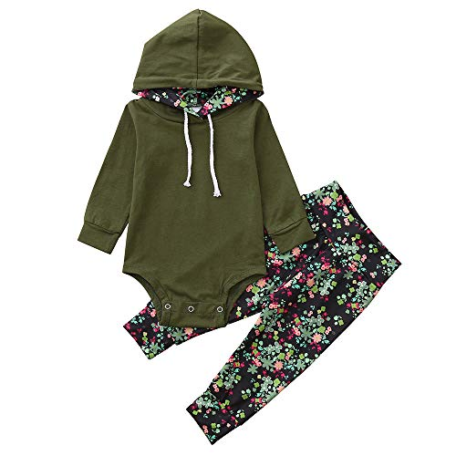 Infant Toddler Baby Girls Fall Sweatshirt Outfits Clothes 0-2 Years Old,Fashion Hooded Romper Floral Pants Sets (0-6 Months, Army Green) -