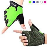 Cycling Gloves Gym Gloves with Anti-slip 3-Piece Silica Gel Grip & Adjustable Strap Mountain Bike Gloves Road Racing Bicycle Gloves Weight Lifting Gloves for Workout, Fitness(Men & Women)