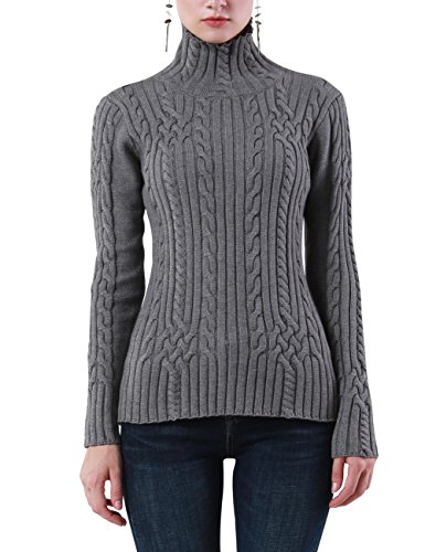 Rocorose Womens Cable Knit Long Sleeves High Neck Pullover Sweaters