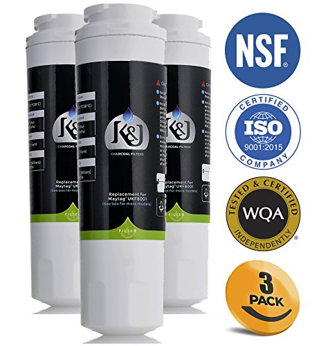 K&J Refrigerator Water Filter Maytag Compatible for UKF8001 Pur - Replacement for Maytag UKF8001, UKF8001AXX, EDR4RXD1, Puriclean II, and Kenmore 9006 (3 Pack)