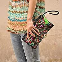 Tinksky Vintage mujer étnica monedero cartera bolsa mariposa flor teléfono