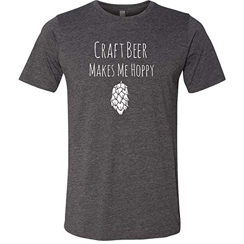 Craft Beer Makes Me Hoppy Men's T-Shirt (L, Charcoal Gray) (Make Craft Beer)