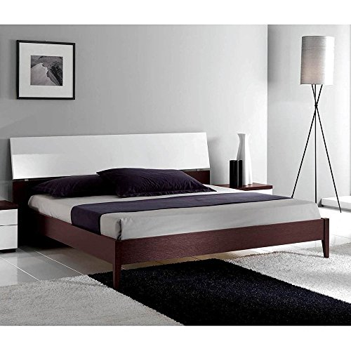 Luca Home Wenge/White Mid-century Style Bed King -