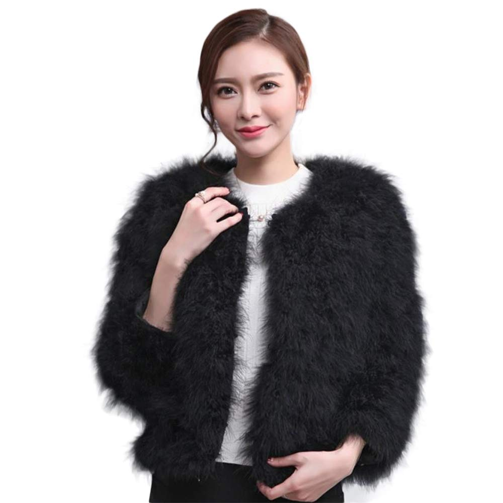 Manka Vesa Women's Real Feather Coat Ostrich Fur Jacket Winter Thick Outerwear Warm Long Coat