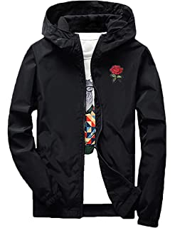 d1189f8d57 Rexcyril Men's Rose Floral Windbreaker Hooded Jacket Lightweight Casual  Zip-up Flower Coat