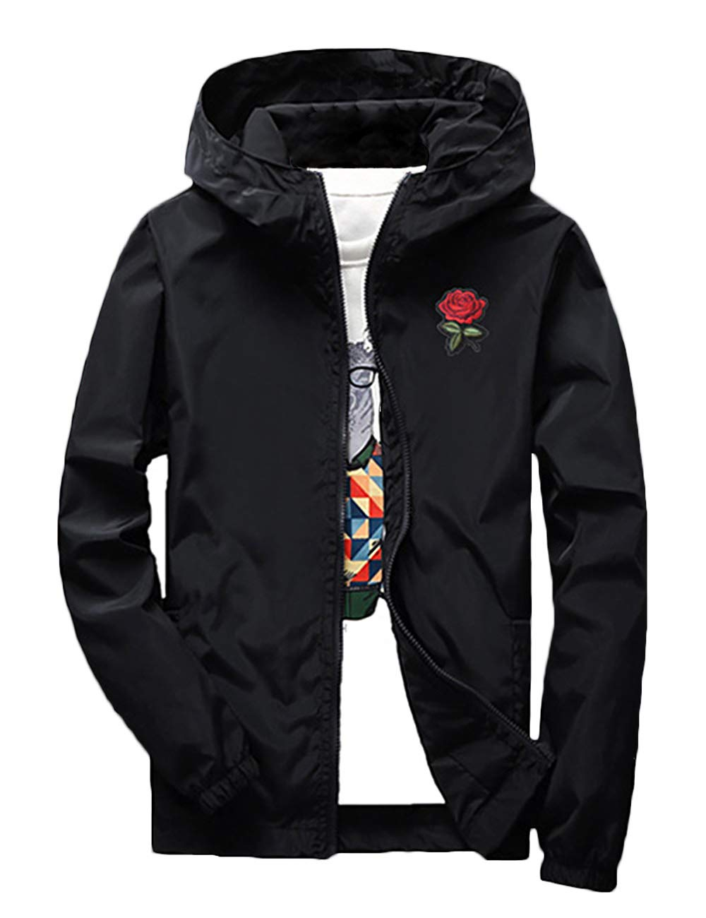 Rexcyril Men's Rose Floral Windbreaker Hooded Jacket Lightweight Solid Color Casual Full Zip Flower Coat Medium Black by Rexcyril