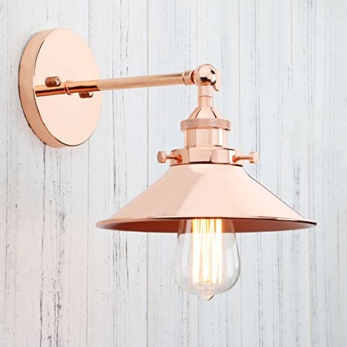 Permo Vintage Industrial Metal Wall Sconce Lighting 180 Degree Adjustable Wall Lamp (Copper) - Copper Wall Lamp