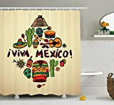 Ambesonne Mexican Decorations Collection, Mexican Symbols Viva Mexico Ornate Historic Heritage Civilization Drumsticks Image, Polyester Fabric Bathroom Shower Curtain Set with Hooks, Ivory Orange