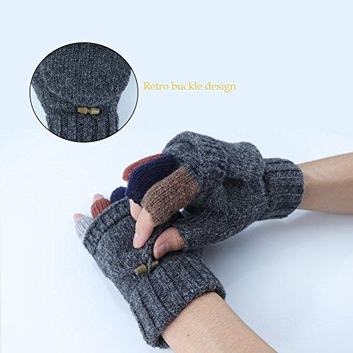 Kay Boya Winter Knit Wool Gloves Thicken Warm Gloves Fold Back Gloves for Men & Women (Grey) by Kay Boya (Image #3)