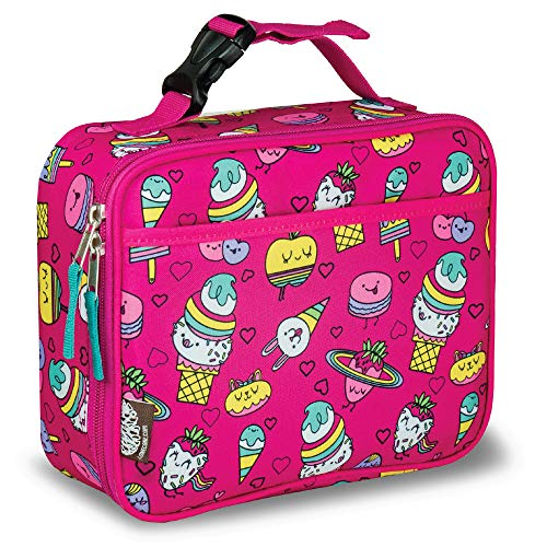 LONECONE Kids' Insulated Lunch Box - Cute Patterns for Boys and Girls, Sweet Treats, Standard with Buckle (Lunch Box Girls Insulated)