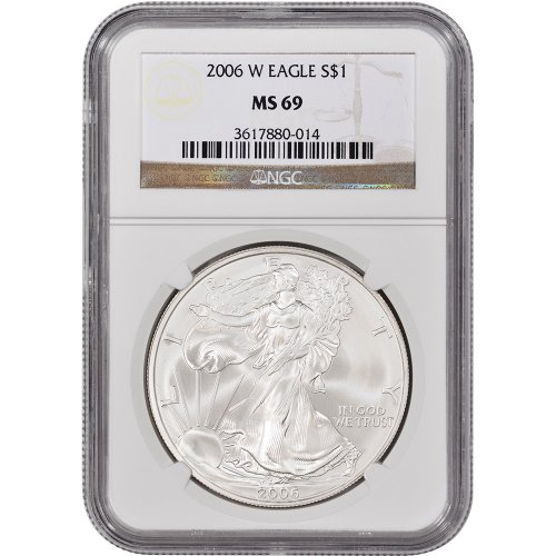 2006 W American Silver Eagle Uncirculated Collector's Burnished $1 MS69 NGC