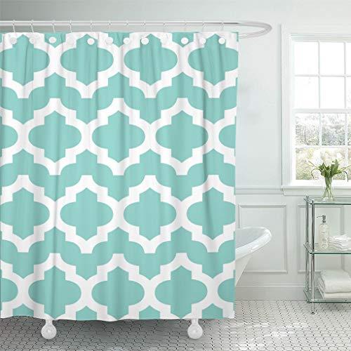 (Semtomn Shower Curtain Blue Moroccan K Moroccaccino Teal Pattern Robins Egg Tiffanys 72