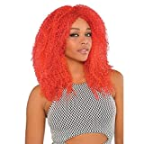Amscan Adults Crimped Wig, Red