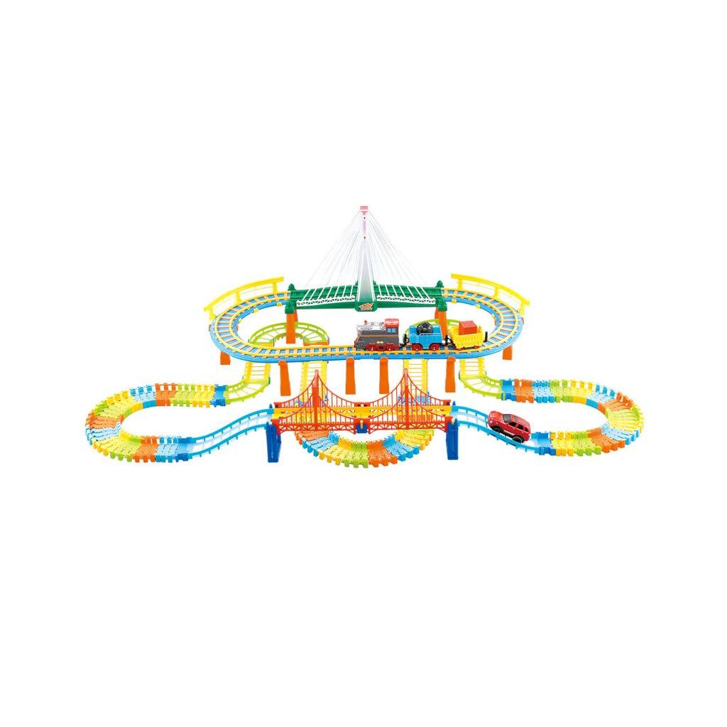 Version mise à niveau HXGL-Jouet wagon Jeu de Train éducatif Jouet Piste Voiture électrique garçon 3-6 Ans Cadeau de Vacances Enfant (Taille   Basic Version)