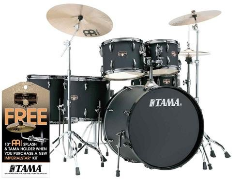 Tama Imperialstar 6-Piece Complete kit with Meinl HCS Cymbals and 22 in. Bass Drum Blacked Out Black