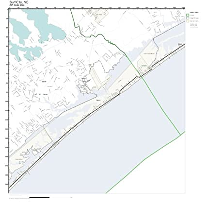 Amazon Com Zip Code Wall Map Of Surf City Nc Zip Code Map Not