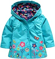 Evelin LEE Baby Girls Waterproof Jacket Floral Hooded Raincoat Windproof Outwear