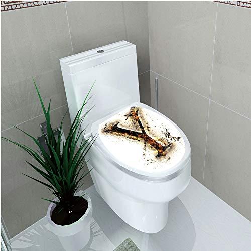 - Toilet Applique,Letter Y,Capital Y in Flames Burning Grunge Gothic Style Conceptual Model of Alphabet Decorative,Tan Black Orange,Custom Sticker,W12.6