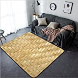 Vanfan Design Home Decorative 73805554 Bamboo wood texture Thai handwork Modern Non-Slip Doormats Carpet for Living Dining Room Bedroom Hallway Office Easy Clean Footcloth