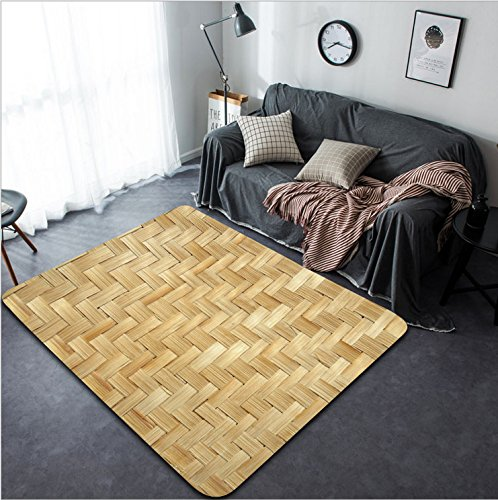 Vanfan Design Home Decorative 73805554 Bamboo wood texture Thai handwork Modern Non-Slip Doormats Carpet for Living Dining Room Bedroom Hallway Office Easy Clean Footcloth by vanfan