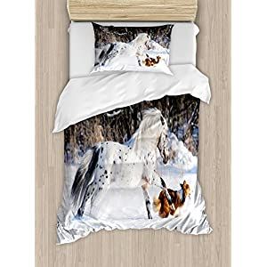 Ambesonne Horses Duvet Cover Set, Appaloosa Pony and Sable Border Collie Runs Gallop in Winter Photo Print, Decorative 2 Piece Bedding Set with 1 Pillow Sham, Twin Size, White Taupe 16