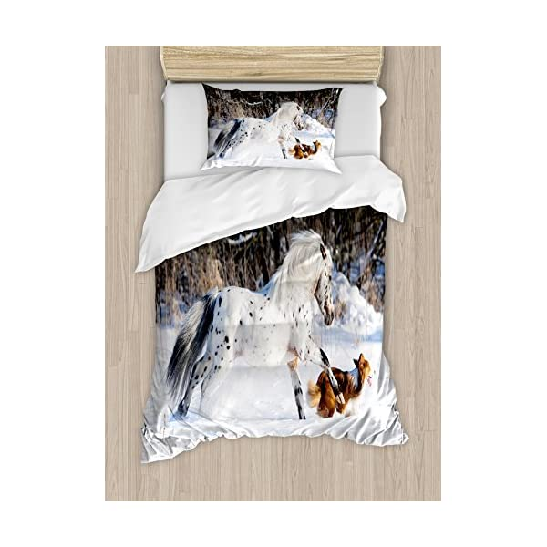 Ambesonne Horses Duvet Cover Set, Appaloosa Pony and Sable Border Collie Runs Gallop in Winter Photo Print, Decorative 2 Piece Bedding Set with 1 Pillow Sham, Twin Size, White Taupe 1