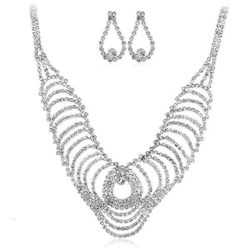 Jewellery Sets for Women Bling Rhinestone Collar Collar Chunky Women's Jewelry For Banquet Banquet Wedding Wedding Bridal Jewelry Set Crystal Rhinestone Round Necklace And Women's Earrings Silver Plat ()
