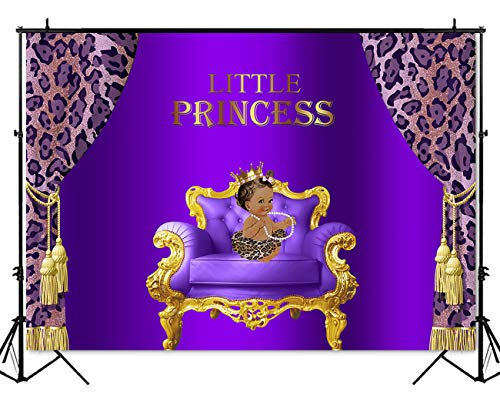 (Mehofoto Royal Princess Purple Baby Shower Backdrop Baby Girl Birthday Party Photography Background 5x3ft Vinyl Leopard Print Baby Shower Party Supplies)