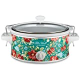 Vintage Floral Turquoise 6 Quart Portable Slow Cooker By Hamilton Beach