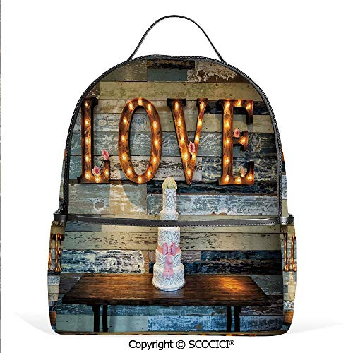 Hot Sale Backpack outdoor travel Wedding Cake wtih the Word Love as Sinage on Wooden Background Print,Multicolor,With Water Bottle Pockets -