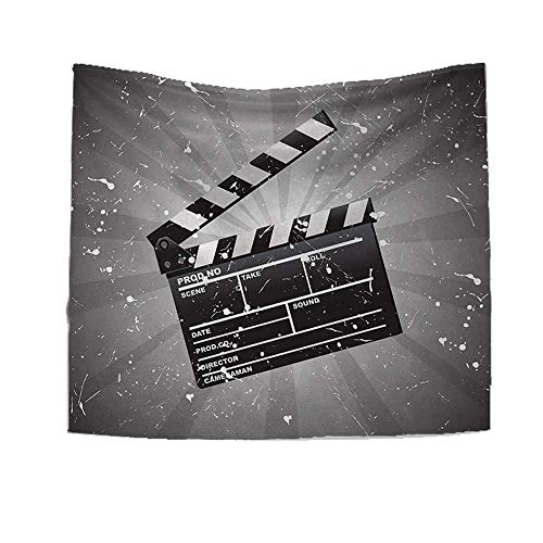 RuppertTextile Movie Theater Customed Widened Tapestry Clapper Board on Retro Backdrop Grunge Effect Director Cut Scene Wall Hanging Tapestry 70W x 70L Inch Grey Black White for $<!--$45.60-->